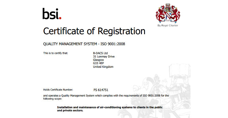 B-DACS Achieves ISO 9001:2008 Certification